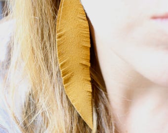 Valentine's day gift for her,  Mustard Feather Earrings, statement earrings