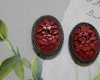 Finely Carved Antique Chinese Cinnabar Clip On Earrings in Ornate Silver Setting marked CHINA    OBU3