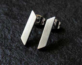 slanted bar earrings / minimalist earrings / stainless steel earrings / dainty earrings / edgy earrings / bar studs