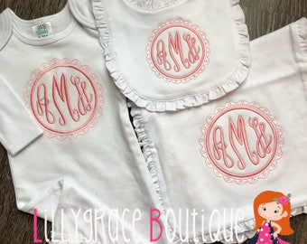Personalized Baby Girl Gift Set Gown Burper Bib Coming Home Hospital Outfit