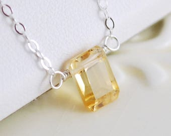 Genuine Citrine Necklace, Sterling Silver, Pale Yellow Stone, Emerald Cut Gemstone, November Birthstone Jewelry, Gift for Girls