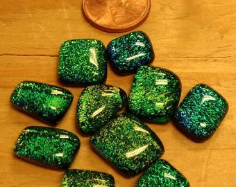 Dichroic glass cabochons, Copper/Gold/Green