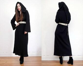 Vintage Black Hooded Kaftan Batik Hippie Angel Sleeve Kimono Kaftan Boho Maxi Dress 70's