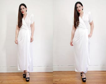 Vintage White Wedding Grecian Bohemian Hippie Minimal Maxi Dress