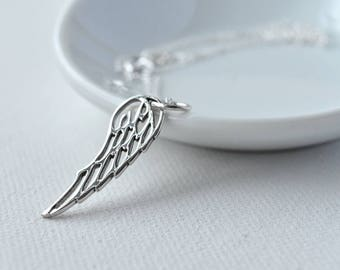 Silver Necklace, Sterling Silver, Gift for Her, Wing Necklace, Christmas Gift, Silver Pendant, Minimalist Necklace