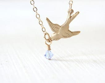 Birthstone Bird Necklace / Swarovsk Crystal New Mother Gift // Simple everyday delicate personalized jewelry // Gold, Sterling, Rose Gold