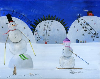 Original Painting Hilly Huzzah - 11x14 - Christmas Winter Folk Art Snowman Skiing on Bunny Hill at Ski Lifts Slopes - OOAK Acrylic on Canvas