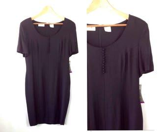 NWT Deadstock 80s Dress Little Black Dress Vintage Liz Claiborne Simple Black Dress Minimalist LBD Black Sheath Dress tag size 14 40/34/41