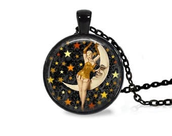 "25mm Vintage Pinup Girl On Moon Cabochon Black 18"" Necklace"