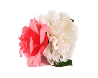 Ivory Chrysanthemum and Flamingo Pink Veined Rose Pinup Hair Flower Fascinator Clip