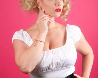 FLASH SALE Gold & Pink Lipstick Charm Bracelet