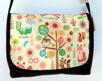 Woodlands Print Satchel / Laptop Bag - black cotton handbag, messenger