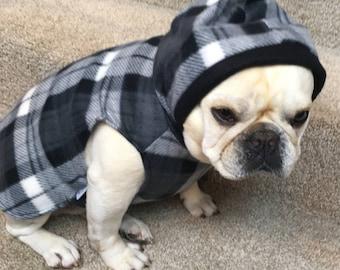 French Bulldog Gray Plaid Fleece Hoodie