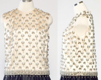 Vintage 1950s beaded sleeveless shift top with tassels by Gene Shelly, Size Med