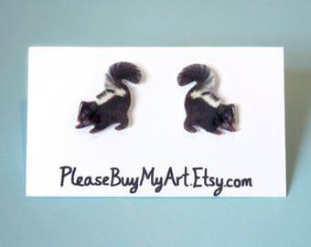 Baby Skunk Stud Earrings Post Earrings Cute Animal Lover Backyard Wildlife Jewelry Accessories Gift Idea