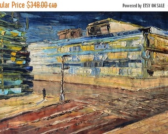 70% off Oil Painting Original canvas texture painting Impasto Colorful Blue shades street art paintings ready to hang gift modern large Marc