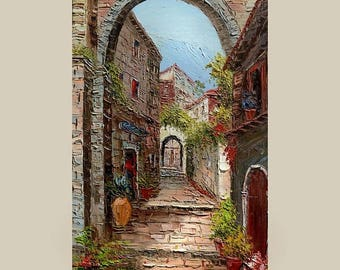 70% off Original Painting Landscape  Textured Painting italian village  Tuscany Palette Knife Painting Sunny Flowers Home decor ART by March