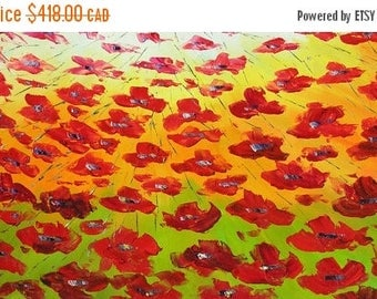 70% OFF Flying Poppies 45 x 23 Original Oil Painting Palette Knife Flowers Poppies Red Green ART by Marchella