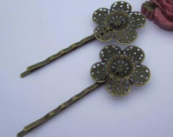 10 Boby Pins, hair pins, bronze metal hair pin,  Antique Bronze Hair Clips hair pin, 25mm filigree pad pin blanks, jewelry hair boby pin