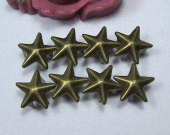 Star studs, Antique Bronze star Rivet, 50 Bronze star studs for jewelry, 5 claw studs, rivet claw, DIY metal studs for embellishment 10mm