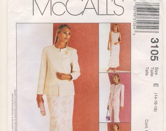 McCall's 3105 Misses Wardrobe - Lined Jacket, Top, Pants, Bias Skirt and Tie Belt Multi Size 14 - 16 - 18
