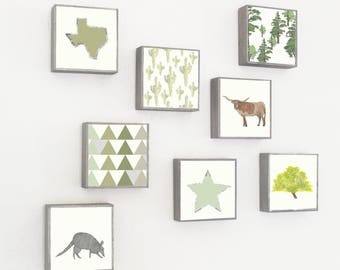 southwestern nursery art- eight set of 5x5 art blocks- kids room decor- boho nursery decor, southwestern prints, redtilestudio, art print