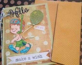 Birthday card handmade boy beach layered card paper handmade greeting card