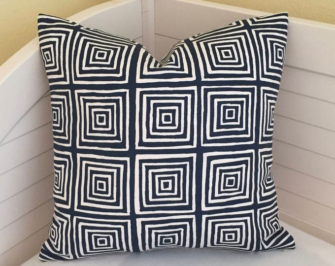 Quadrille China Seas Ziggurat in Navy and White Designer Pillow Cover - Square, Lumbar and Euro Sizes