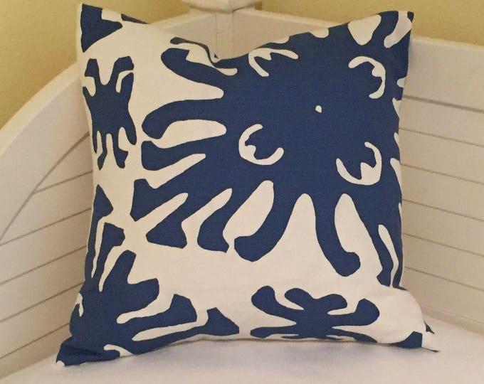 Quadrille China Seas Sigourney Navy and White Designer Pillow Cover, Square, Euro or Lumbar Pillow Sizes, Batik Pillow, Coastal Decor Pillow