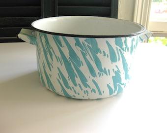 Vintage Blue White Turquoise Enamelware Graniteware Agate Agateware Pot Pan