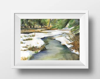 Scotland, Scottish Highlands, Winter, stream  - Original Watercolor Painting by C.Raven A4 / 8.3 x 11.7in