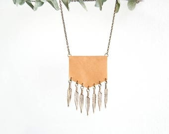 Boho Fringe Necklace - Natural Tone Leather and Brass Metal Feather Fringe - Bohemian - Gypsy - Southern - Tribal Inspired - Ready to Ship