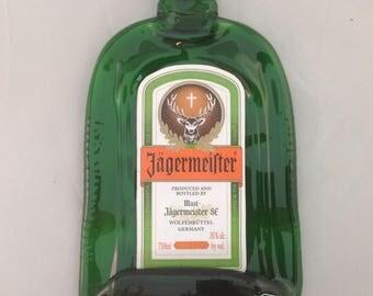 Fused flat Jager liquor bottle