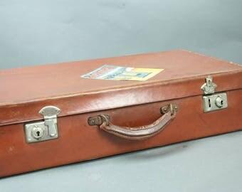 Antique Leather Suitcase Attache Briefcase Chestnut Brown British Made 1920's