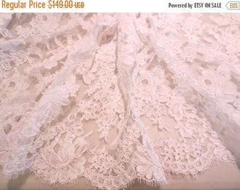 "ON SALE White Rose Pattern French Alencon Bridal Lace Fabric 36"" Wide--One Yard"