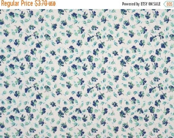 ON SALE REMNANT--Blue and Green on White Tiny Allover Floral Print Stretch Cotton Sateen Fabric--5/8 Yard