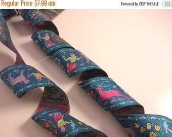 """ON SALE Exquisite Forest and Friends Pink on Teal Polyester Jacquard Ribbon 1.5"""" Wide--By the Yard"""