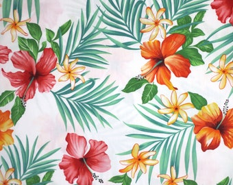 Stunning Scattered Hibiscus on White Tropical Floral Print Pure Cotton Fabric--By the Yard