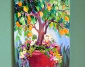 Lemon Tree Original Painting 12 x 24 Canvas art by Elaine Cory