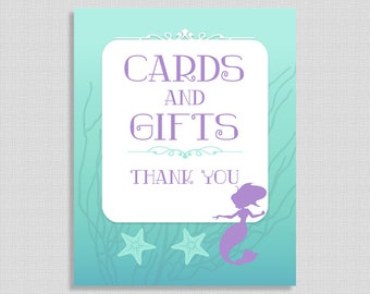 Cards and Gifts Sign, Mermaid Shower Table Sign, Aqua and Purple, Baby Shower Sign, 2 Sizes, DIY Printable, INSTANT DOWNLOAD
