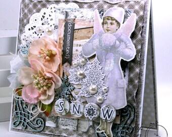 Snow Angel Shabby Chic Christmas Greeting Card Polly's Paper Studio Handmade
