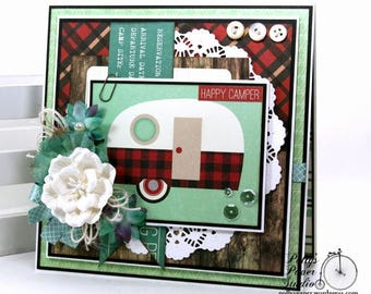 Happy Camper Greeting Card Polly's Paper Studio Handmade