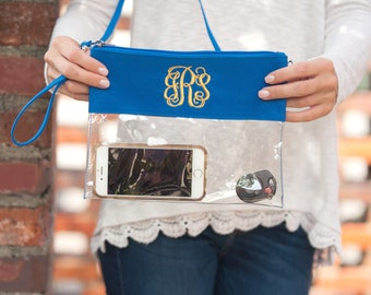 Monogrammed Royal Blue Clear Zip Pouch Crossbody Purse Game Day ---Fast Turnaround---FREE MONOGRAMMING---