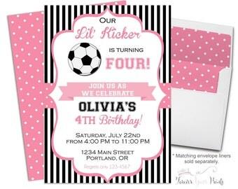 Soccer Birthday Invitation - Soccer Party Invitations - Soccer Invitations - Soccer Party Invites - Girls Birthday Party - Football Invite