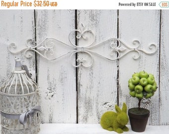 ON SALE Cream Wrought Iron  Wall Decor / Wrought Iron  / Ornate Wall Decor / Shabby Chic Decor / Bedroom Wall Decor / Kitchen Decor