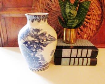 Chinoiserie Blue and White Vase, Blue Transferware Vase, Palm Beach Decor, Oriental Decor, The Gilded Tassel