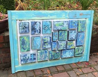 Original Painting Sea Life Seascape Art Blocks Beach House Decor by CastawaysHall Seahorse Fish Starfish Coral Seascape - Ready to Ship