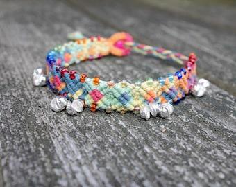 Rainbow gypsy bell hemp anklet, macrame, micomacrame, hippie, music festivals, hemp jewelry