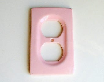 Pink Outlet Cover Ceramic Mid Century Hardware Housewares Vintage Home Decor