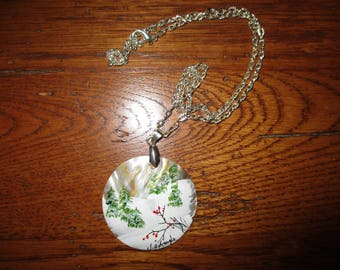 Mother Of Pearl Necklace - Hand Painted Winter Scene - by J. Hufnagle